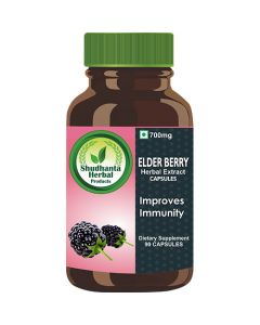 Shudhnata Herbal 100% Elder Berry Capsules 800mg for Help Bladder Infections and Digestive Health - 90 Herbal Vegetarian Capsules