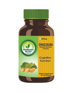 Shudhanta Herbal 100% Ginkgo Biloba Capsules 800mg for Improves Circulation - 90 Herbal Vegetarian Capsules