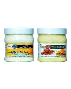 Skinatura Lacto Tan Removal & Sandal and Turmeric Face & Body Scrub (500 ml Each - Combo of 2) Scrub (500 ml)