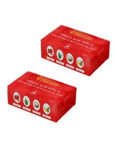 SKINSKA NATURALS Tomato, Aloe Vera & Rice Extracts with Olive oil soap, 125gm (Pack of 2)