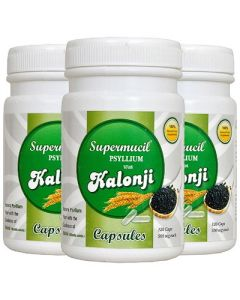 Supermucil Psyllium with Kalonji Capsules 360 Capsules (500 mg each) (Combo Pack) (3X120 Caps)