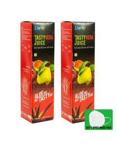 Liwo TastyVera Juice - 500ml (Pack of 2) With 1 KN95 Mask Free