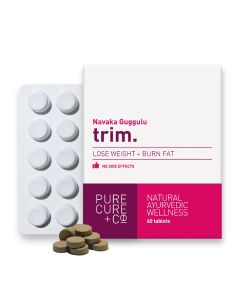 PURECURE+CO Trim Burn Fat + Lose Weight, Ayurvedic Supplement, Navaka Gulgulu, 250 mg - 60 Tablets