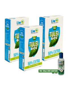 Liwo Panch Tulsi - 30ml (Pack of 3) With 1 Liwo Health Sanitizer 100ml Free