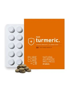 PURECURE+CO Turmeric For Strong Immunity And Healthy Glowing Skin, Ayurvedic Haldi 500 Mg - 60 Tablets