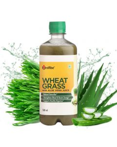Unifibe Wheatgrass with Aloevera Juice - 500 ml (No Added Sugar)