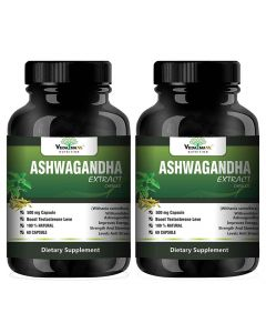 VEDA MAXX Ashwagandha Extract (Withania Somnifera) With Withanolides Natural 100% Whole-Food Vegetarian Tablet For Improves Energy, Strength And Stamina Levels and Anti Stress Know As Indian Ginseng (500Mg Pack of 02 Each Contain - 60 Capsules)
