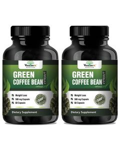 VEDA MAXX Green Coffee Beans Extract 100% Pure & Natural Weight Management & Appetite Suppressant Supplement (500Mg Pack of 02 Each Contain - 60 Capsules)