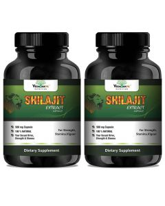 VEDA MAXX Shilajit Extract for Strength, Stamina, Vigour with 6.5% fulvic acid (Pack of 02 Each Contain 500Mg - 60 Capsules)