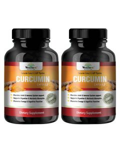 VEDA MAXX 100% Natural & Organic Curcumin With Piperine Capsules Dietary Supplement for Strong Joint & Immune System (500Mg Pack of 2 - Each Contain 60 Capsules)
