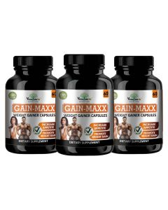 VEDA MAXX GAIN MAXX Weight Gainer Capsules Supplement for Increase Appetite & Promote Weight Gain 100% Natural Vegetarian Tablet (Pack of 03)