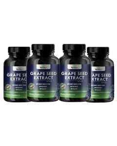 VEDA MAXX Grape Seed Extract Dietary Supplement for Improve Immune System and Super Antioxidant , Water Extracted, No alcohol residue, 100%  Natural Grape Seeds Extract Vegetarian Tablet (500Mg Pack of 04 - Each Contain 60 Capsules)