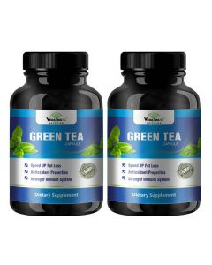 VEDA MAXX 100% Natural & Organic Green Tea Extract Capsules Dietary Supplement for Fast weight loss and Stronger Immune System (500Mg Pack of 2 - Each Contain 60 Capsules)