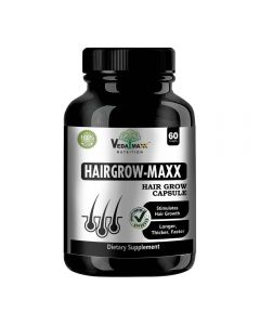 VEDA MAXX Hair Grow Maxx Capsules Supplement for Longer, Thicker and Faster Hair Growth 100% Natural Vegetarian Tablet (Pack of 01 -60 Capsules)