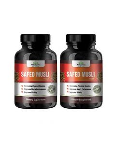 VEDA MAXX 100% Natural & Organic Safed Musli Capsules Dietary Supplement for Increasing Physical Stamina, Improve Vitality and Men's Performance (500Mg Pack of 02 - Each Contain 60 Capsules)