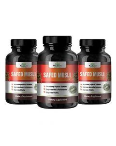 VEDA MAXX 100% Natural & Organic Safed Musli Capsules Dietary Supplement for Increasing Physical Stamina, Improve Vitality and Men's Performance (500Mg Pack of 03 - Each Contain 60 Capsules)