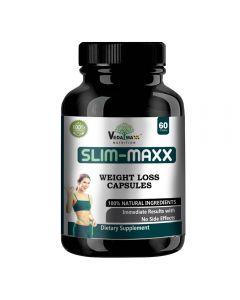 VEDA MAXX Slim Maxx Capsules Weight Loss Supplement with Garcinia Cambogia & Green Coffee Beans Extract & Grape Seeds, 100% Natural & Safe Vegetarian Capsules (Pack of 01)