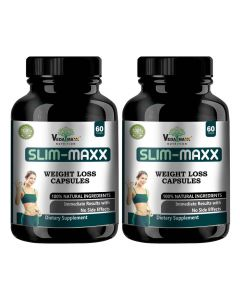 VEDA MAXX Slim Maxx Capsules Weight Loss Supplement with Garcinia Cambogia & Green Coffee Beans Extract & Grape Seeds, 100% Natural & Safe Vegetarian Capsules (Pack of 02)