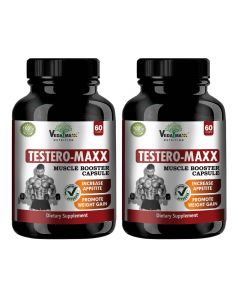 VEDA MAXX Testero-Maxx Capsules, Testosterone Booster Supplement and Boost Men Muscle Growth and Energy, 100% Natural & Safe Vegetarian Capsules (Pack of 02)