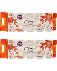 CLARET White 2 Ply Bathroom Tissue Toilet Roll, 10 in 1 Value Pack Toilet Paper Roll (Combo Of 2)