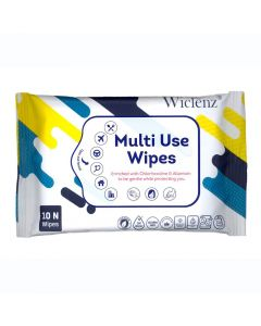 Wiclenz Antibacterial Multi Use Wipes - Set of 10 Wipes - Pack of 4