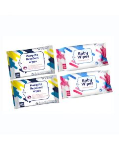 Wiclenz Baby (Model 98) Wipes 30's Set & Wiclenz Mosquito Repellent Wipes - Pack of 4 (2x30 and 2x10)
