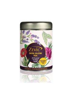 Zevic Skin Glow Tea for Glowing Skin with Rose Petals - 20 Pyramid Tea Bags (Sweetened with Stevia)